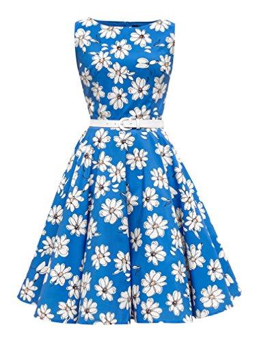 y' Vintage Daisy Kleid im 50er-Jahre-Stil (Königsblau, EUR 52-5XL) (50er Jahre Stil Kleid Bis)