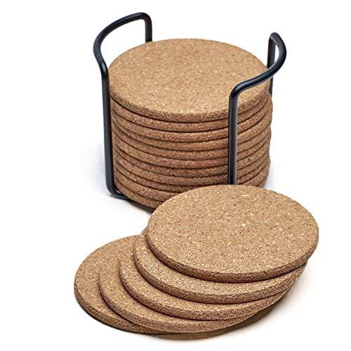 QQLCK Untersetzer Naturkork-Untersetzer mit rundem 16-teiligem Set mit Metallhalter-Aufbewahrungs-Caddy 1/5 Zoll dick, saugfähig, umweltfreundlich Heat-Resis, 1 Opas Caddy