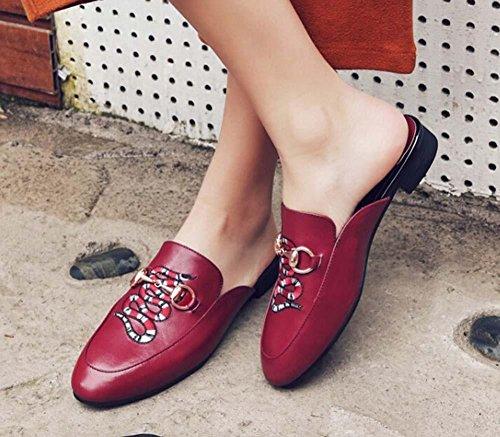 Beauqueen Mules ricamo modello Leather tacco basso delle donne delle ragazze La pompa casuali piane Scarpe Eleganti Europa formato 34-39 wine red