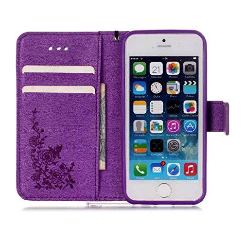 iPhone Case Cover iphone5,5s peint coloré, titulaire de la carte de crédit type portefeuille style folio du cuir ou cas magnétiques - comique pour iphone5,5s couverture couverture ( PATTERN : H , Size D