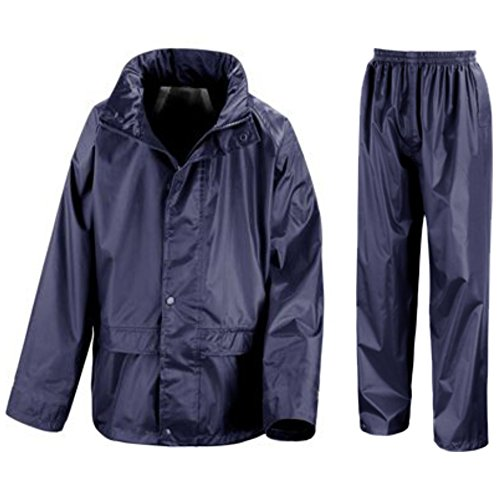 Kids Waterproof Jacket & Trousers Suit Set in Black, Navy Blue or Royal Blue Childs Childrens Boys Girls WR225J (5-6 Years, Navy Blue)