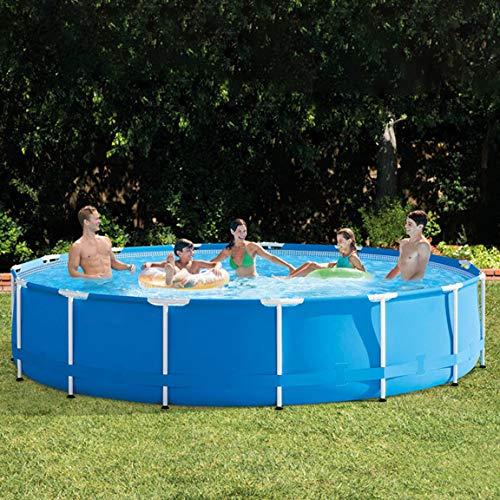 CRZJ Runder Rahmen-Swimmingpool, extra großer Familienpool mit Dicker Halterung für Kinder, 457 * 107 cm