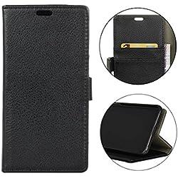 Sunrive Coque pour Samsung Galaxy Xcover 4 Housse Mignon Étui avec Fonction de Support Etui Protecteur Protection Portefeuille Cas Magnétique PU Cuir (Litchi Pattern Noir) Stylet OFFERTS