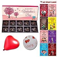 BOGATCHI Chocolates Valentine Day Gift for Husband, Heart Chocolates Box,10 pcs + Free All V-Day Cards Set + Free Love Balloons