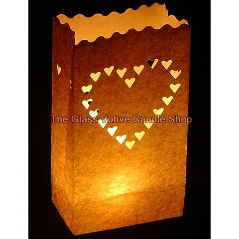 Quality UK Wedding Supplies - 30 Lanterne di carta con fustellatura a cuori - Matrimonio Cuore Holder Candela Di Unità