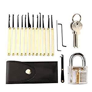 yokkao 12 piece lock pick set practice padlock inside view transparent trainning skill pick. Black Bedroom Furniture Sets. Home Design Ideas