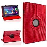 NAUC Tasche Hülle für ODYS Ieos Quad 10 Pro Schutzhülle Tablet Cover Case Bag Etui, Modellauswahl:Rot Carbon-Erscheinungsbild 360°