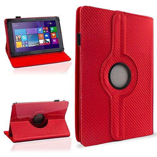 NAUC Schutzhülle für Ihr CSL Panther Tab 10 Hülle Tasche Carbon Cover Tablet Case, Farben:Rot