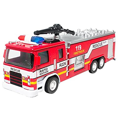 6 inch Die-Cast Fire Engine Truck Red Model Collection Sound & Light & Pull Back