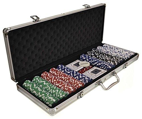 SUPGOD 500 CHIP POKER SET TEXAS HOLDEM CARD GAME CASINO CARRY CASE VEGAS STYLE DICE *UK SELLER*