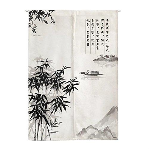 Insun Tür Vorhang Japanische Noren Wandteppiche Baumwolle Leinen Zimmer Divider mit Teleskopstange Fischerboot und Bambus 70cm X 120cm