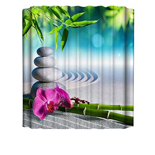 Xmiral Duschvorhänge 3D Gedruckte 180x180cm Badewanne Vorhang Wasserdicht Badezimmer Dekoration(A)