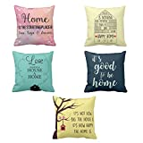 TYYC Designer Printed Love Goodness Happy Home Home Cushion Covers Set of 5, 20x20 inches, New Year Gifts for home decoration