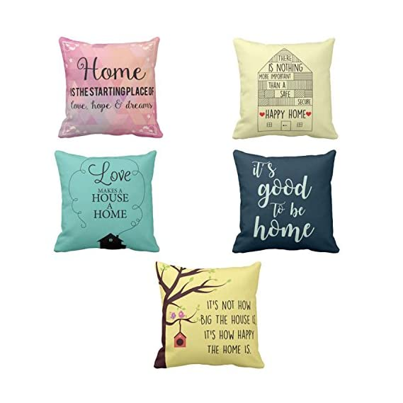 YaYa cafe Diwali Gifts Love Goodness Happy Home Home Printed Cushion Covers Set of 5 Sofa