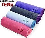 Heathyoga Anti-Rutsch Yoga-Matte Handtuch, Rutschfest (Wet Anti-Rutsch Yoga-Matte Handtuch, Rutschfest (Wet Grip)- hohe Bodenhaftung (Silikonbeschichtung), ideal für Hot Yoga, Ashtanga