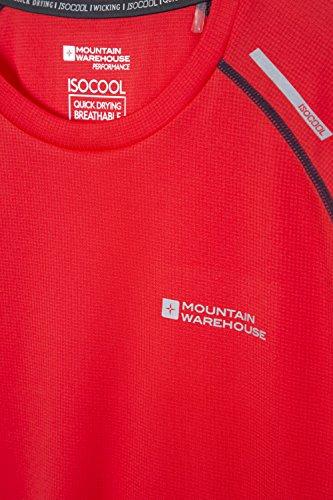 Mountain Warehouse Aero Kurzärmliges Herren-Oberteil Base Layer schnell trocknend Sports Radfahren Laufen Rot