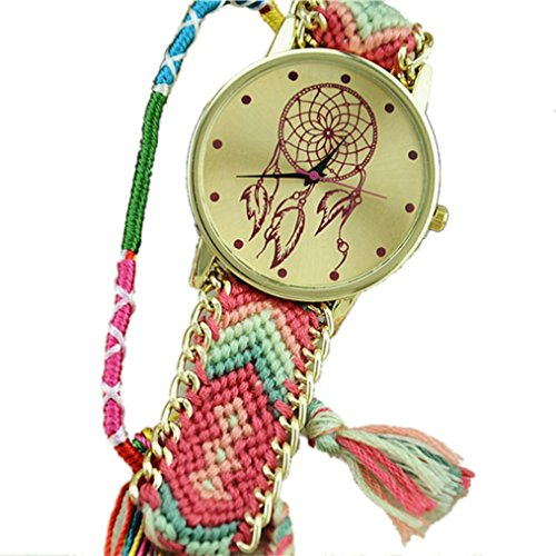 Ouneed Uhren , Neue Traumfänger Freundschaft Armband Uhren Frauen Braid Kleid Uhren (Hot Pink + Grün)