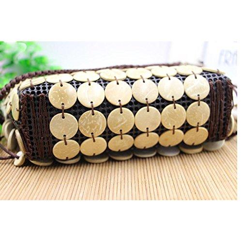 MOXIN Gewebte Tasche - natürliche Kokosnussschale handgemachte Kornbeutel / Dameschulterbeutel / Kokosnussoberteilbeutel B