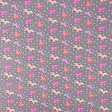 SCHÖNER LEBEN. Baumwolljersey Jersey Einhörner Pferde Sterne grau rosa pink lila 1,65m Breite