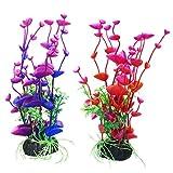 UEETEK 2 PCS Plastik Aquarium Pflanzen Dekorationen Künstliche Pflanze für Fisch Tank Dekorationen Bunte (Lila + Rot)