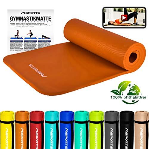 MSPORTS Gymnastikmatte Premium inkl. Tragegurt + Übungsposter + Workout App GRATIS I Fitnessmatte Orange - 190 x 60 x 1,5 cm Hautfreundliche Phthalatfreie Yogamatte