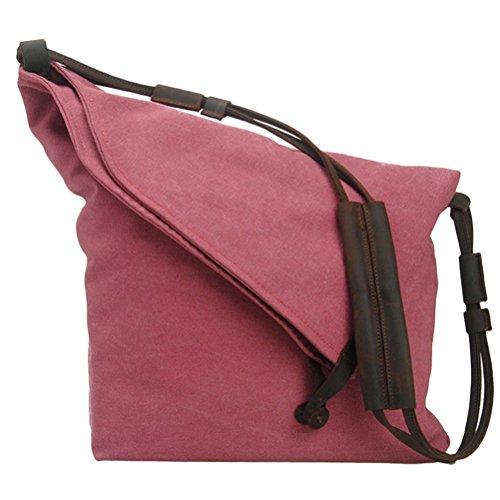 Zhhlaixing Beiläufige Beutel Art Retro Canvas Package College Style Korean Version Shoulder Bag Messenger Bags for Men Women Rose Red