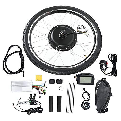 """Kit de Motor de Bicicleta eléctrica, Rueda de 26\""""48V 1000W Kit de conversión de Motor de Bicicleta con batería eléctrica Motor Potente E-Bike Conversion Hub Rueda de Motor(accionamiento Delantero)"""