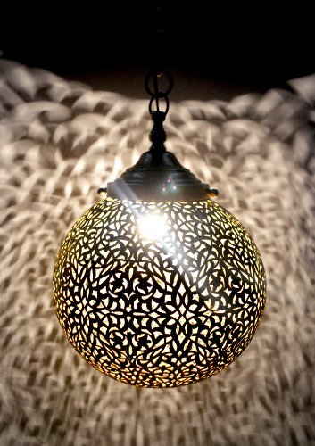 Ball Shape Large Moroccan solid antique brass ball ceiling lantern- Hand pierced. Diameter 40cm