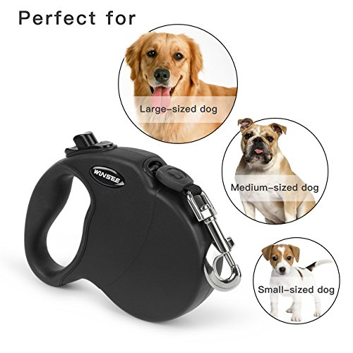 Dog Lead Retractable, WINSEE 5M Extendable Dog/Pet Leads/Leash for Small Medium Large Dogs Up to 50 KG, One Button&Lock with Reflective Belt( Black)