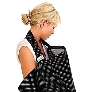 BebeChic.UK * Top Quality Oeko-Tex® Certified 100% Cotton * Breastfeeding Covers * Boned Nursing Tops - with Storage Bag - black / white dot