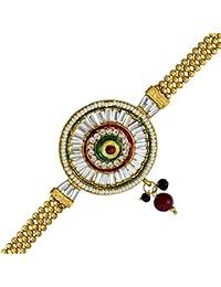 DzineTrendz Brass Gold Plated Flat Strap, Kundan Pearl Armlet Bajuband Women Traditional Bajubandh Bridal