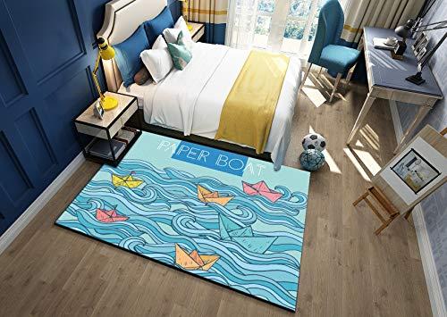 Luce blu onda barca moquette camera stampe per bambini scivolare ecocompatibili ragazzi ragazze grande cuscino gioco lavabile grandezza naturale,lightblue,100x200