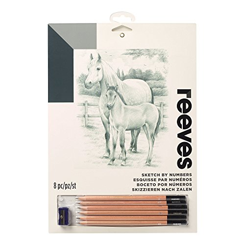 Reeves PPSKM9 Malen nach Zahlen Skizzieren - Motiv: Pferd - 6 Stifte, 1 Spitzer - 22x30m