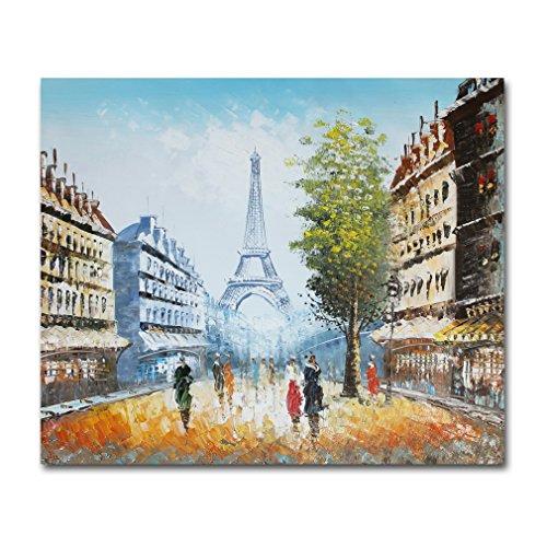 muzagroo Art dipinti ad olio parigi torre eiffel immagini, Tela, Colourful, 20x24in