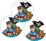 Cake Company Esspapier-Aufleger Pirat mit Schatztruhe | 25 Stück 4 cm | Torten-Aufleger für Muffin-Aufleger & Cupcakes-Aufleger | Torten-Deko für Piraten-Party | für Motiv-Torten & Kinder-Geburtstag