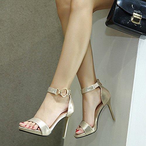 Rei脽verschluss Zehen Elegant Ring Damen Kn枚chelriemchen Offene Stiletto Metallic Aisun Gold Sandale C0qAwOO