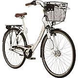 Galano 28 Zoll Prelude Citybike Stadt Fahrrad Licht 3 Gang Nexus, Farbe:Weiss