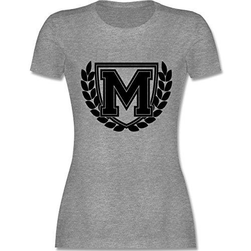 Anfangsbuchstaben - M Collegestyle - tailliertes Premium T-Shirt mit  Rundhalsausschnitt für Damen Grau Meliert