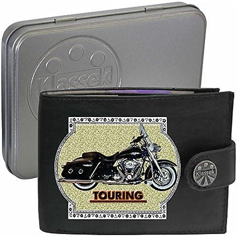 HARLEY DAVIDSON TOURING motocicletta accessorio Moto Klassek portafoglio uomo Borsa da vera pelle nera