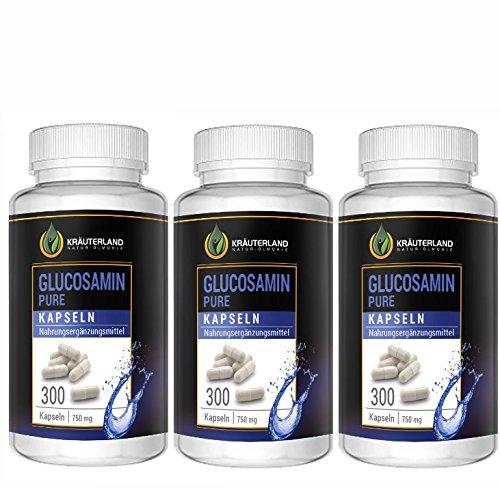 Glucosamin Kapseln • ab 8,90 • 3 x 300 Kapseln à 750mg • reines Glucosamin • hochdosiert • in wiederverschließbaren Frische-Dosen • sofortiger Versand (900 Kapseln)