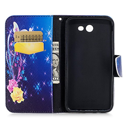Samsung Galaxy J7 (2017) (5.5 pouce) Coque , PU Cuir Étui Protection Wallet Housse la Haute Qualité Pochette Anti-rayures Couverture Bumper Magnétique Antichoc Case Anfire Cover pour Samsung Galaxy J7 Bleu et Papillon