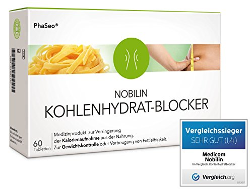 NOBILIN KOHLENHYDRATBLOCKER – 60 Tabletten Carb-Blocker, Appetitzügler zum Gewichtsverlust, Diät Kapseln zum Abnehmen