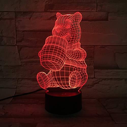 Winnie The Pooh Nachtlicht Für Kinder 3D Illusion Nachtlicht, Touch Button 3D Optical Illusion Tisch Schreibtischlampe Mit 7 Farben Licht Für Mädchen Weihnachten Halloween Geburtstagsgeschenk (The Halloween Winnie Pooh)