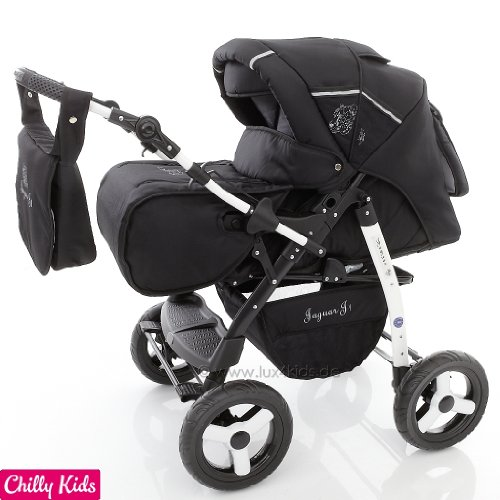 Chilly Kids Jaguar J1 Kombikinderwagen (Regenschutz, Moskitonetz) 04 Black Shadow
