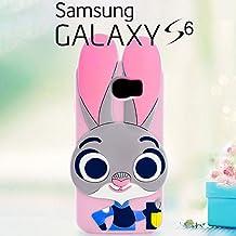 Funda Carcasa 3D Disney Conejita Judy Hopps Zootrópolis de Silicona Para Samsung Galaxy S6 - Zootopia Conejo Cover Cubierta Caso Case Skin