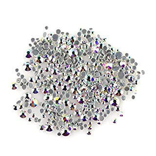 ACESTRASS Sparkle Hotfix Rhinestones Mixed 5 Sizes for Nail Art(Crystal AB)