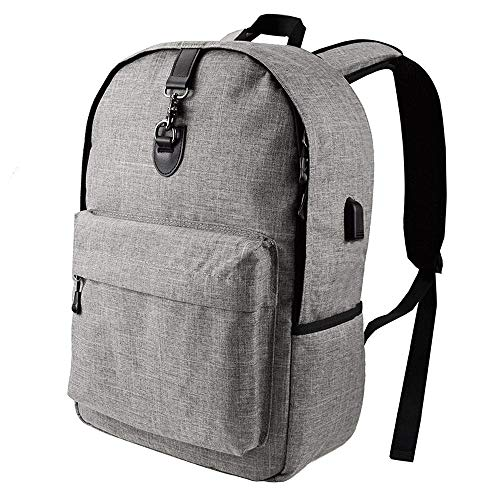 ZXT Sencillo y Elegante Bolso de Lona Casual Mochila para portátil antirrobo Impermeable para Viajes con Carga USB Port School Bag Adecuado para Viajes universitarios Mochila diseñada para portátiles