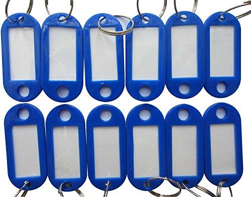 50pcs plastica blu portachiavi bagagli ID Tag Split anello con etichetta Finestra per identificare la tua Chiave