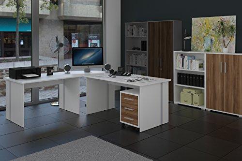 Büro 6-teiliges Büromöbelset Weiß mit Nussbaum Fronten