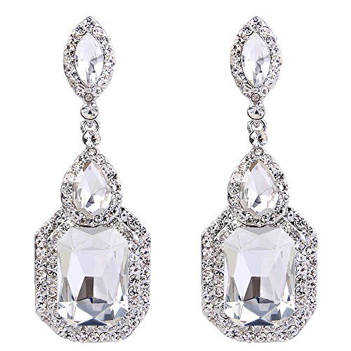 Clearine Damen Fashion Einfach Geometrisch Kristall Marquise Tropfen Form Chandelier Dangle Statement Ohrringe Silber-Ton Klar